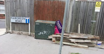 This was spotted on Thursday, at Fairgreen Road (how did you guess?). Since the Estate Agents are responsible for their own signage, we wonder whether any enforcement action might be taken against them. We shan't be holding our breath