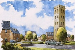 Developers Barratt's somewhat idealised vision of the new Cane Hill village