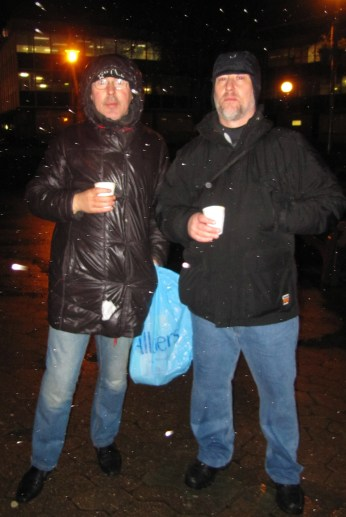 Jeff Gridley, right, with one of Croydon NightWatch's regular clients at Queen's Gardens. This picture was taken on Gridley's first night - before all his clothes and bedding had become drenched by the constant rain