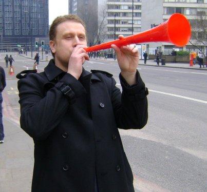 Blowing his own trumpet: Class War candidate Jon Bigger
