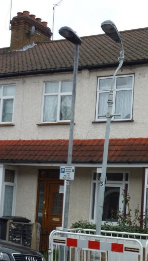 How street lamps, many in keeping with the local area, are being replaced with more modern lighting pillars across Croydon and Lewisham by Skanska