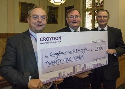 Vote to pay these three Tory councillors hundreds of thousands of pounds a year, and they'll bribe you with the 25 quid they took off you last year: Mike Fisher (centre), Steve O'Connell and Dudley Mead (left)