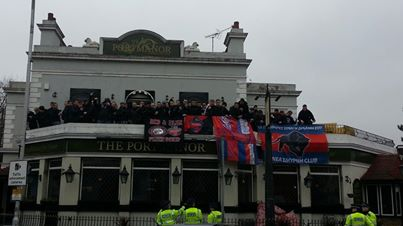 Holmesdale Fanatics display their true colours at the Portmanor last year. This looks like football passion, rather than hooliganism