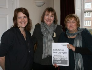 Sarah Jones, left, with Harriet Harman and Alison Butler, the deputy leader of the Croydon Labour group