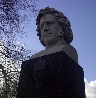 Joseph Paxton, the designer of the original Crystal Palace, looks on - disapprovingly? - at the old terraces and the Chinese scheme to build on the neglected site