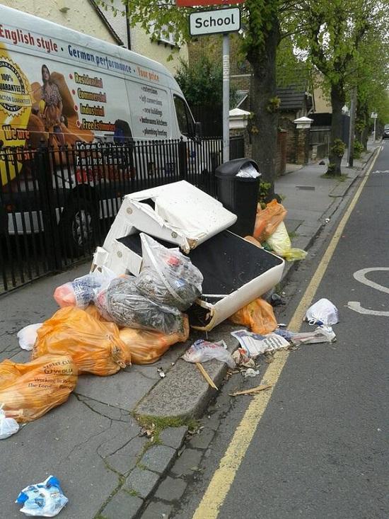 Rubbish dumped close to a school in Selhurst, April 21 2014