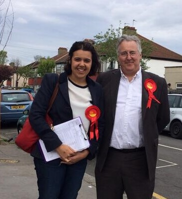 "Labour council election candidate Emily Benn canvassing in West Thornton with Viscount Stansgate. Or ""Dad"""