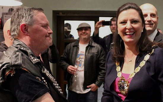 The ultimate subversion: did Croydon Mayor Yvette Hopley know what she was letting herself in for the night she met Johnny Moped? Photos by Diana Vlase