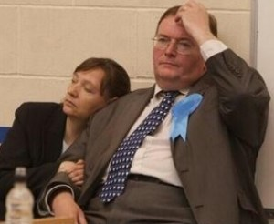 Tory council leader Mike Fisher captured on election night: for him, his problems had only just begun...