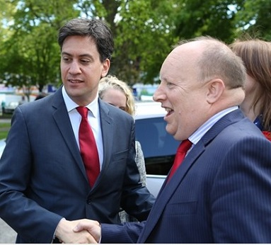 Croydon Labour's Tony Newman, right, out campaigning in New Addington with his party leader, Ed Miliband