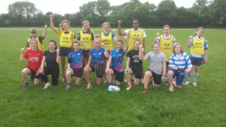 Some of the girls who gave rugby a try at Warlingham last weekend