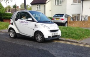 Caught in the act: traffic enforcement officers really ought to know better than park on double yellow lines