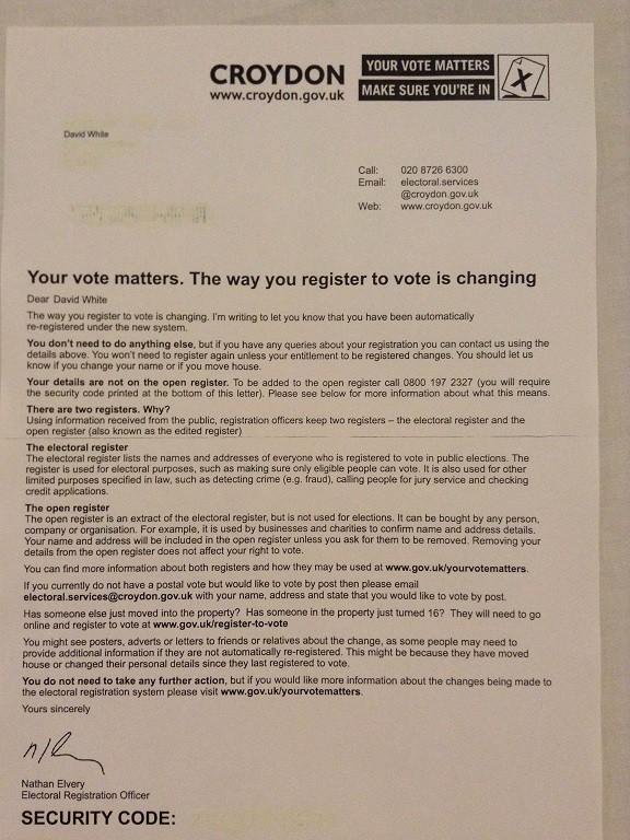 Registration letter