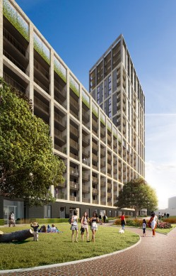 An architect's impression of what the first phase of flats on Ruskin Square will look like