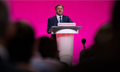 The view from the back of the hall: shadow chancellor Ed Balls said he would end the delays over airport expansion in London