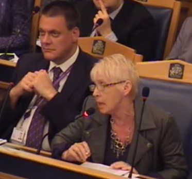 Smugness abounds: Tim Pollard, looking far too pleased with himself, as Maria Gatland addresses last night's council meeting