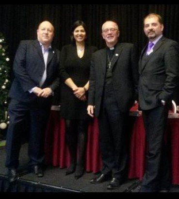 All fair? The launch of Croydon's Fairness Commission yesterday, with Tony Newman trying not to fall off the stage, alongside (from left) Hamida Ali, Bishop Clark and Mark Watson