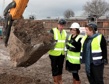 Croydon Council's deputy leader, Alison Butler, right, at yesterday's Ruskin Square ground-breaking with Ian Mason – Head of UK Specialist Funds at Schroder Real Estate   Mary Parsons – Group Director of Placemaking & Regeneration at Places for People