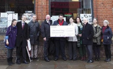Local politicians from Croydon and Lambeth help to present a cheque for nearly £50,000 towards the funding for Upper Norwood Library for the next year