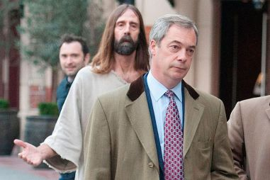 Jesus has found Nigel Farage: the UKIP leader had to  contend with being followed by a Christ-lookalike after the latest Winston McKenzie gaffe last week