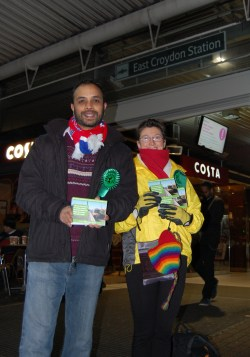 Green Party campaigner Shasha Khan campaigning this morning