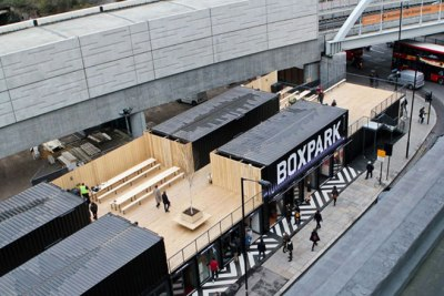 Boxpark in Shoreditch: work on a similar pop-up retail development next to East Croydon is expected to start in the summer