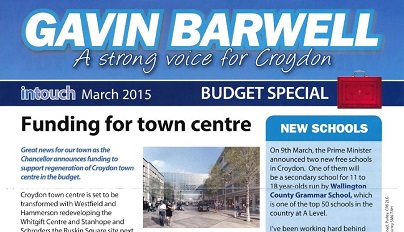 MP Barwell's latest leaflet: you won't find the words David or Cameron anywhere on it