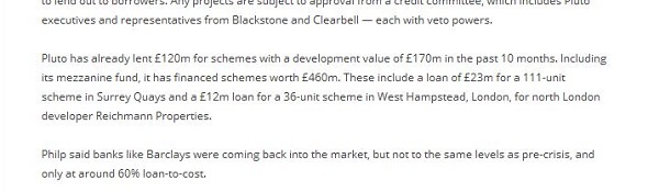 An extract from Chris Philp's Pluto Finance website which shows the £12m investment in the West Hampstead project which includes Poor Doors. The Tory parliamnetary candidate for Croydon South must have forgotten about it...