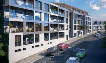 An artists' impression of the Poor Doors West Hampstead development, funded with £12m from Pluto Finance