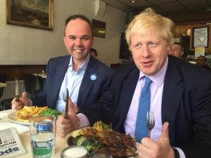 """""""Just like school dinners, what!"""": Boris and Barwell tuck in at the New Cafe, which hs a 1-star hygiene rating"""