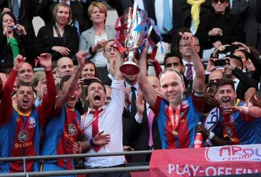 Gavin Barwell after scoring the winner in the play-off final at Wembley. One of his many achievements as MP for Croydon Central