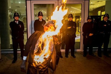 "The ""dangerous"" burning of Boris Johnosn by Class War at their Bonfire Night demo outside 1 Commercial Street last year"
