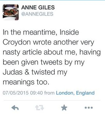 Anne Piles' latest tweeted justification
