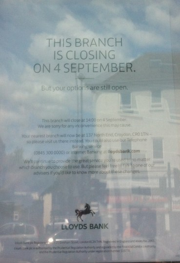 Another reflection of the state of our high streets: Lloyd's Bank South End closes in three months' time