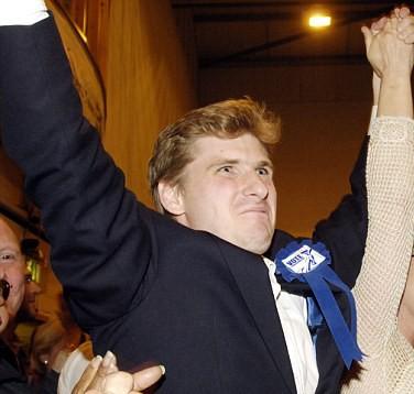 Triumphant: Chris Philp, the new MP for Croydon South