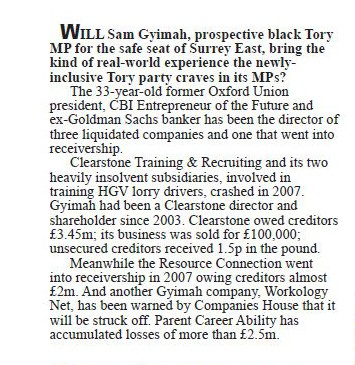 How Private Eye reported the collapse of Clearstone in 2010. Sam Gymiah's business partner was Chris Philp