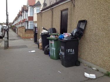 Inglis Road, Addiscombe, home to two senior Labour councillors, and with its bins over-spilling within just a couple of days of the latest collection