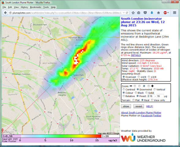 How the exhaust cloud from the incinerator chimneys at Beddington Lane are likely to disperse across south London, towards Crystal Palace, Dulwich and Lewisham