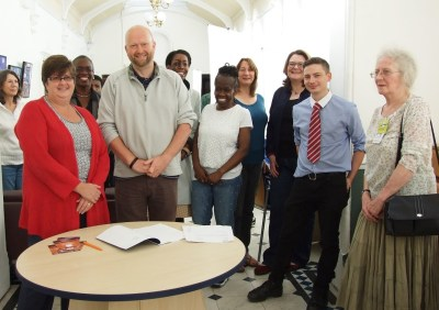 The signing of the lease, from Croydon Council to residents' group SPI. Prominent are SPI's new chair and vice-chair, Labour councillors Kathy Bee and Paul Scott