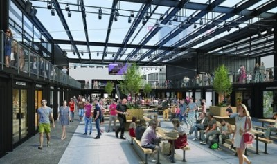 Boxpark's very white original illustration of their food hall in Croydon