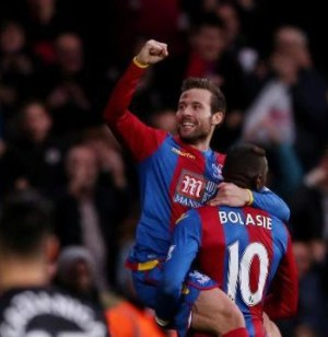 Plenty to celebrate: Yohan Cabaye after scoring the game's only goal against Southampton