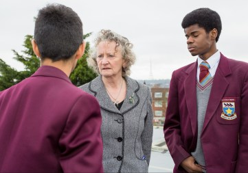 Baroness Jones talks about climate change with pupils at St Joseph's this morning: generating renewable energy on site has educational benefits, too