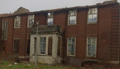 The gutted Officers' Mess at Kenley, as pictured by the airfield friends group the day after the fire