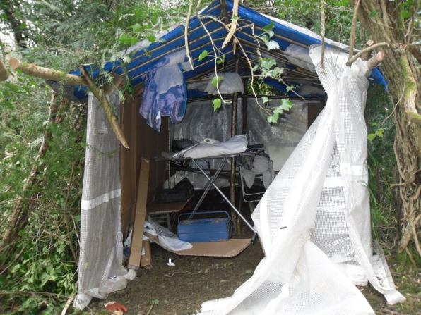 The shack in the woods in Old Coulsdon. The structure is well enough built to suggest that this has been intended as temporary accommodation for an adult