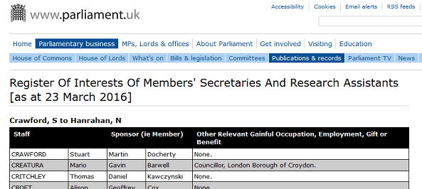 The latest Commons register of pass-holders, published last week, and with Mario Creatura still listed under Gavin Barwell's office, but without the essential declaration of his job with Heineken