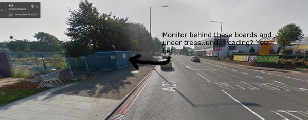 The air quality monitor on Purley Way