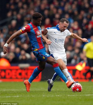Out of reach: Leicester's Danny Drinkwater eclipsed Palace star Wilf Zaha at Selhurt Park yesterday