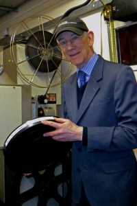 Got it taped: David Lean's biographer, Kevin Brownlow, in the cinema projection room at the weekend. Photo by Philip Talmage