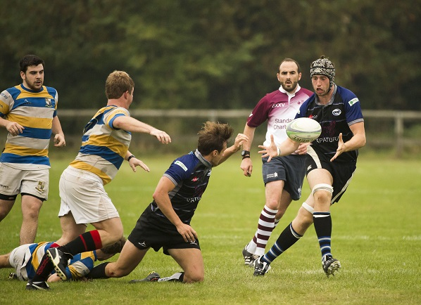 Tough tackle: The Surrey 1 rugby fixture list will include 12 derbies, such as this between Purley-John Fisher and Old Mid-Whitgiftians, in 2016-2017