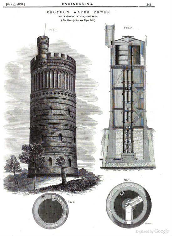 A fine detail engineering sketch of the Water Tower from 1868